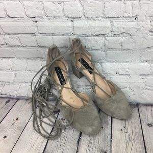 Grey Suede Almond Toe Chunky Heels Size 9
